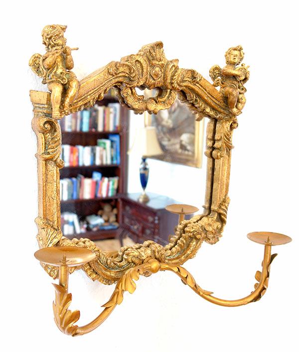 Miroir baroque 38x34cm cadre dore bougeoir applique style for Miroir louis xv