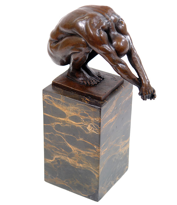 statue en bronze athlete sportif erotique homme nu sculpture socle marbre ebay. Black Bedroom Furniture Sets. Home Design Ideas