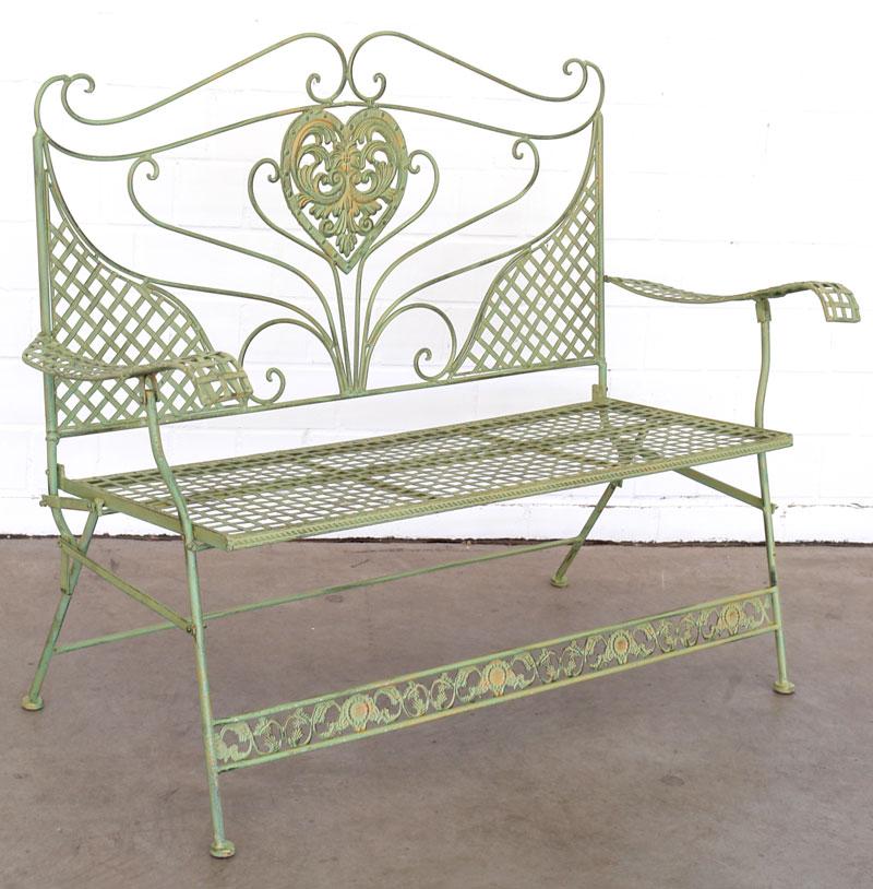 Banc de jardin anglais 2 places en fer forge vert meuble mobilier exterieur - Fer forge en anglais ...