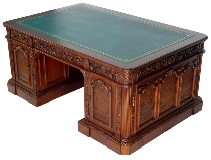 resolute desk president office writing table from mahogany replica white house ebay. Black Bedroom Furniture Sets. Home Design Ideas