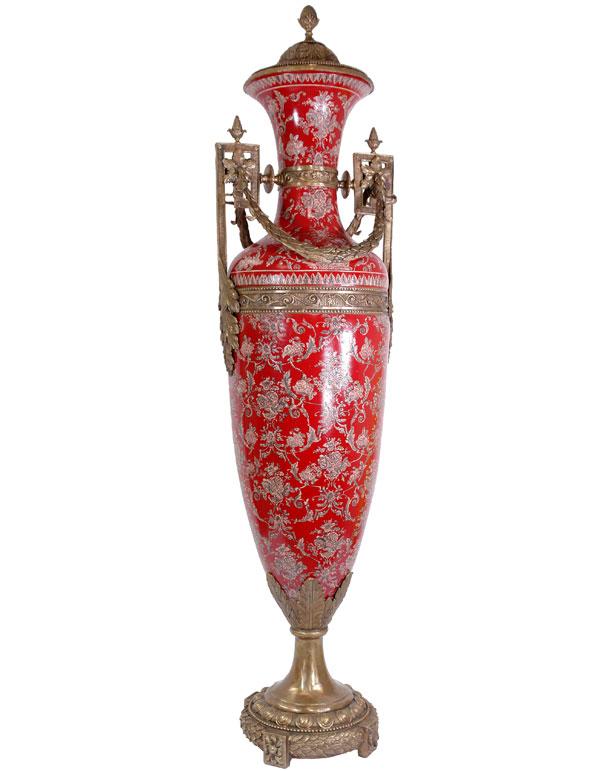 vase de sol 150cm en porcelaine rouge style empire napoleon bonaparte trophee. Black Bedroom Furniture Sets. Home Design Ideas
