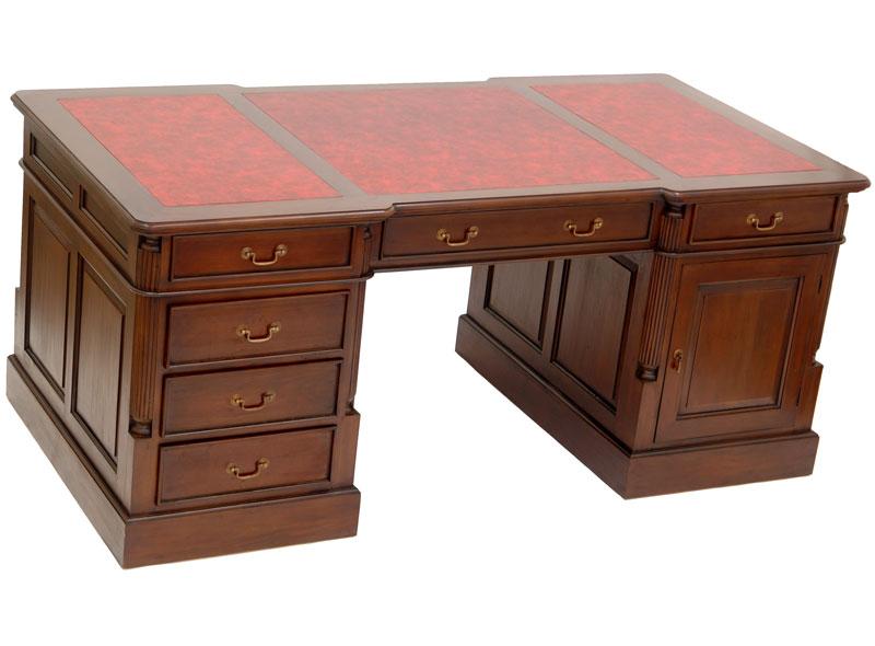 Bureau meuble anglais 180cm en acajou bois secretaire for Meuble anglais acajou