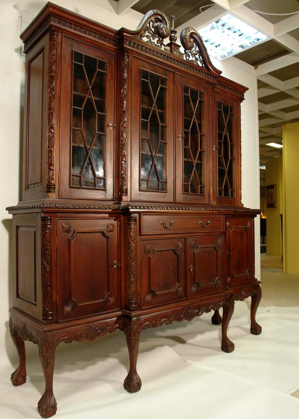 bibliotheque style thomas chippendale en acajou anglais buffet victorien vitrine ebay. Black Bedroom Furniture Sets. Home Design Ideas