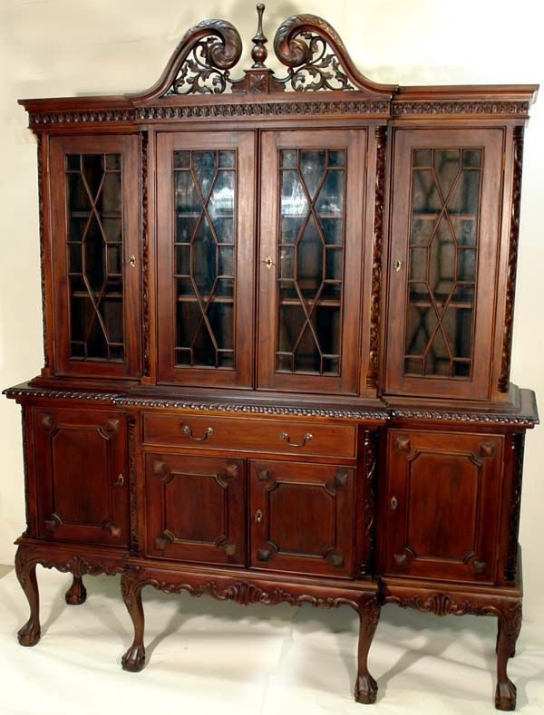 bibliotheque style thomas chippendale en acajou anglais buffet victorien vitrine. Black Bedroom Furniture Sets. Home Design Ideas