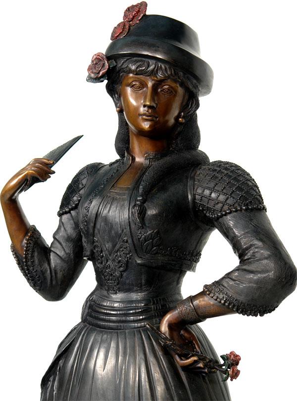 statue en bronze art deco 130cm sculpture femme chapeau eventail jardin parc ebay. Black Bedroom Furniture Sets. Home Design Ideas