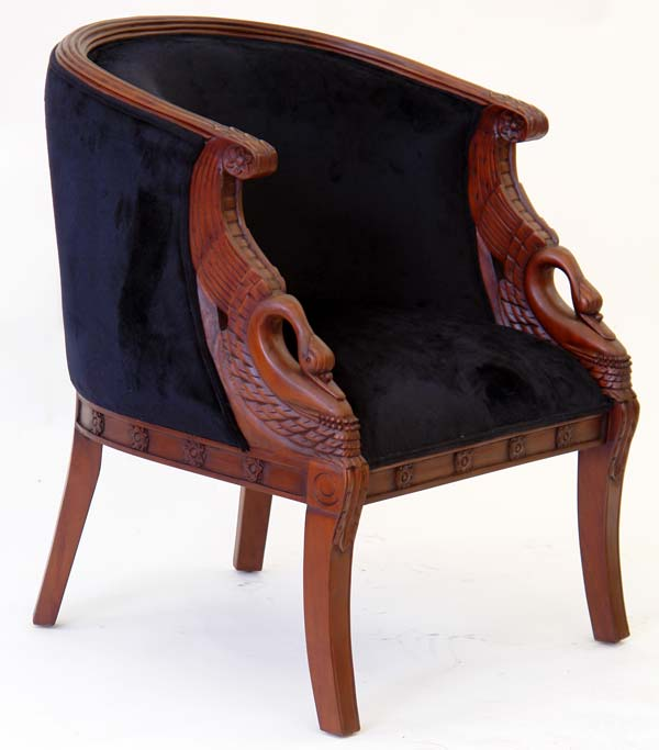 french empire style armchair swan chair napoleonic napoleon mahogany velvet ebay. Black Bedroom Furniture Sets. Home Design Ideas