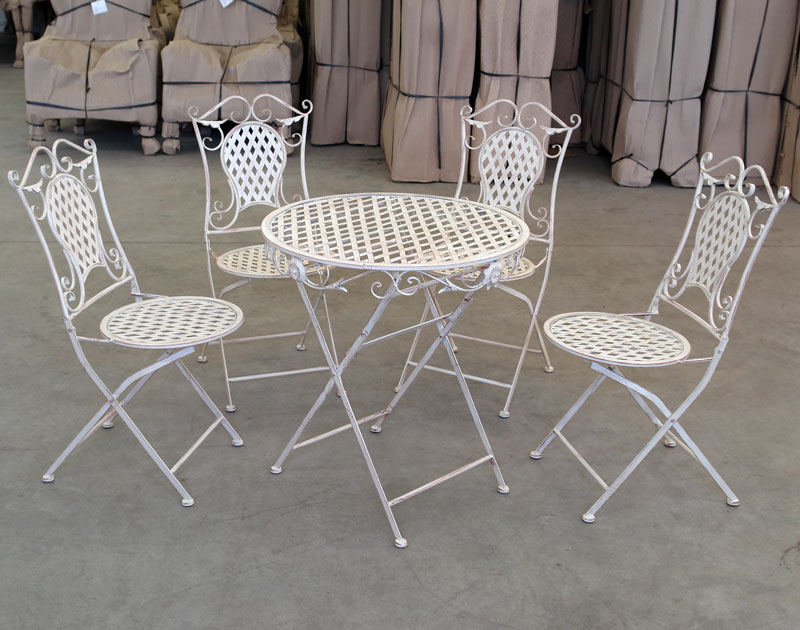 4 chaises table de jardin en fer forge blanc meubles exterieur salon metal ebay. Black Bedroom Furniture Sets. Home Design Ideas