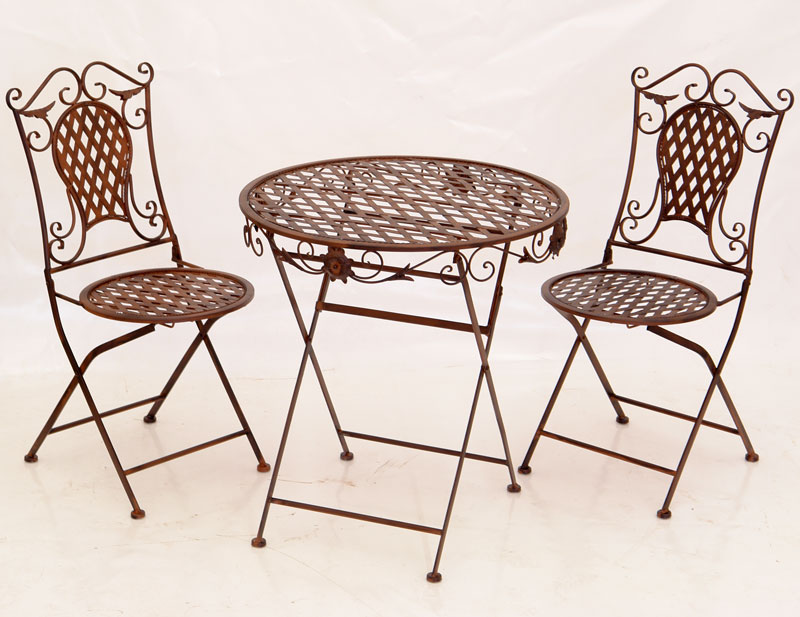 2 chaises table repas salon de jardin meubles en fer for Salon fer forge