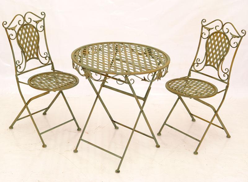 2 chaises table repas salon de jardin meubles en fer forge vert style anglais - Fer forge en anglais ...