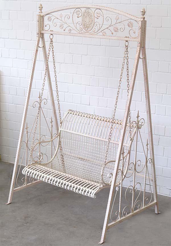 Balancelle style anglais banc de jardin a bascule en fer forge blanc metal - Fer forge en anglais ...