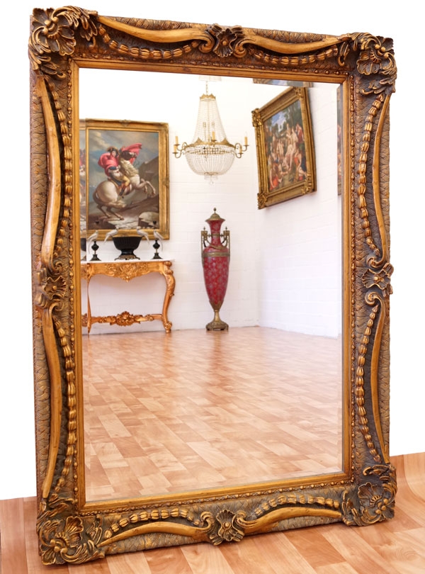 Baroque mirror french louis xv style antique gold gilt wooden frame mantel wa - Miroir baroque rectangulaire ...