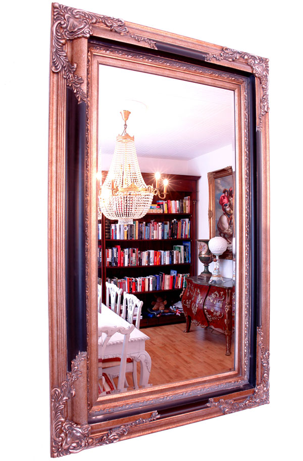 Grand miroir baroque style louis xv cadre en bois noir for Miroir argent baroque