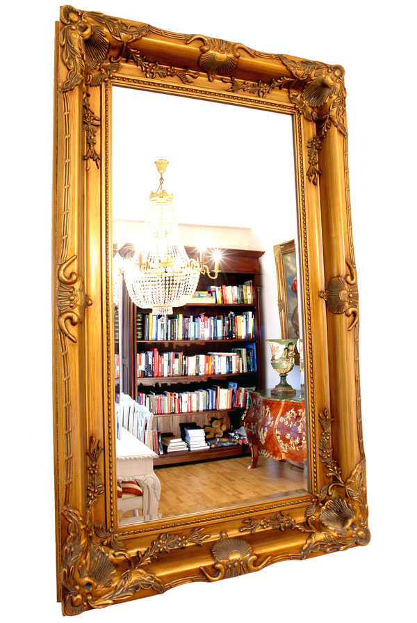 Baroque mirror antique gold wooden frame french louis xv for Miroir louis xv