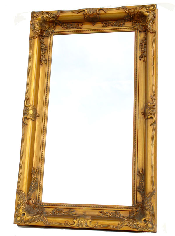 Baroque mirror antique gold wooden frame french louis xv for Miroir baroque