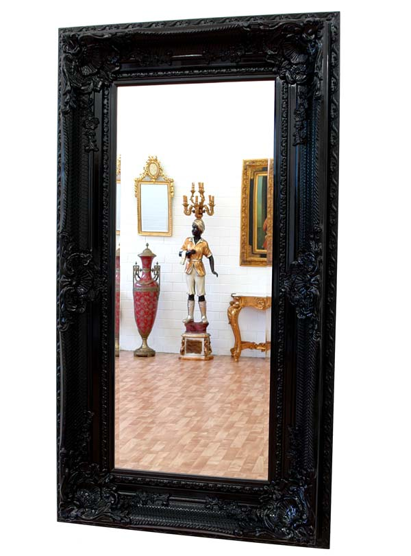 baroque mirror rococo black wooden frame french louis xv On grand miroir noir baroque