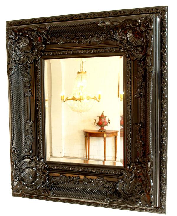 Grand miroir baroque 88x78cm cadre en bois noir style for Miroir cadre metal noir