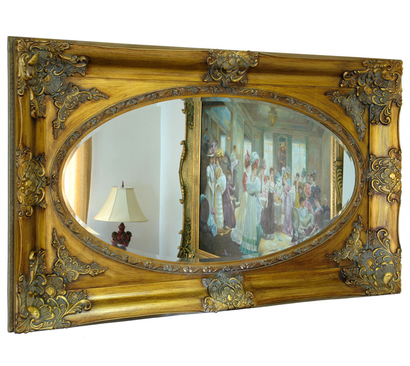 French louis xv style mirror rococo baroque ornament gilt gold wooden frame - Miroir baroque rectangulaire ...