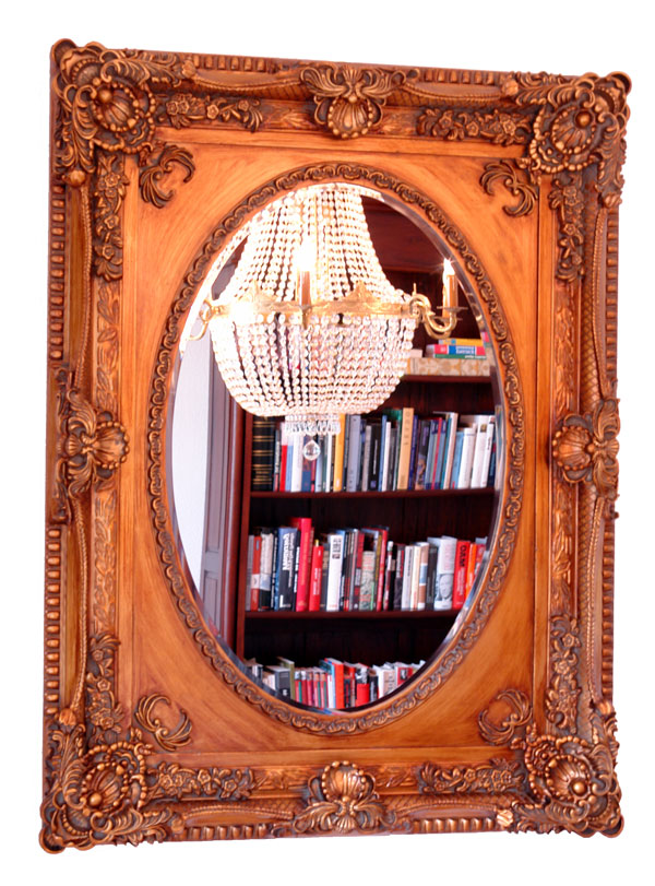 Baroque mirror antique gold wooden frame french louis xv style rococo empire - Miroir baroque rectangulaire ...