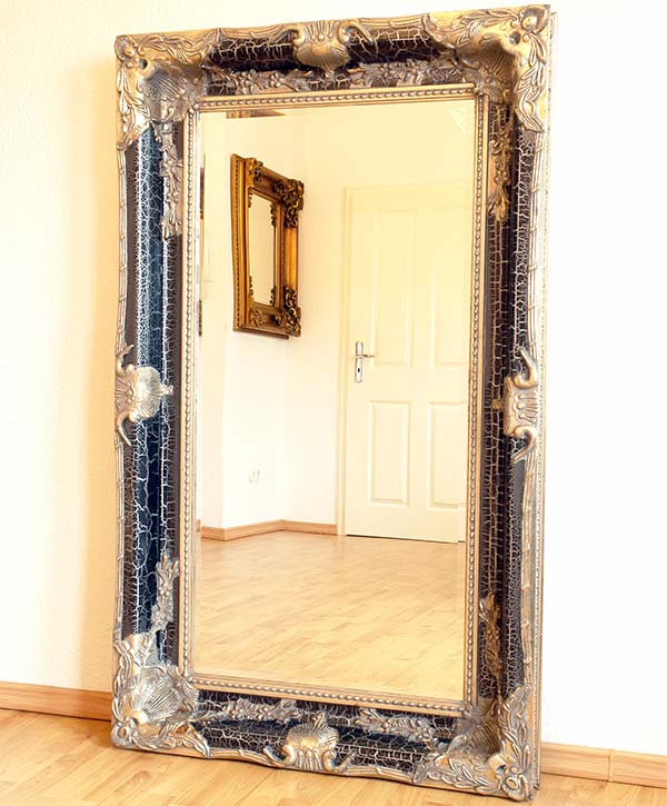 French louis xv style mirror shabby chic silver balck wooden frame antique - Miroir baroque rectangulaire ...