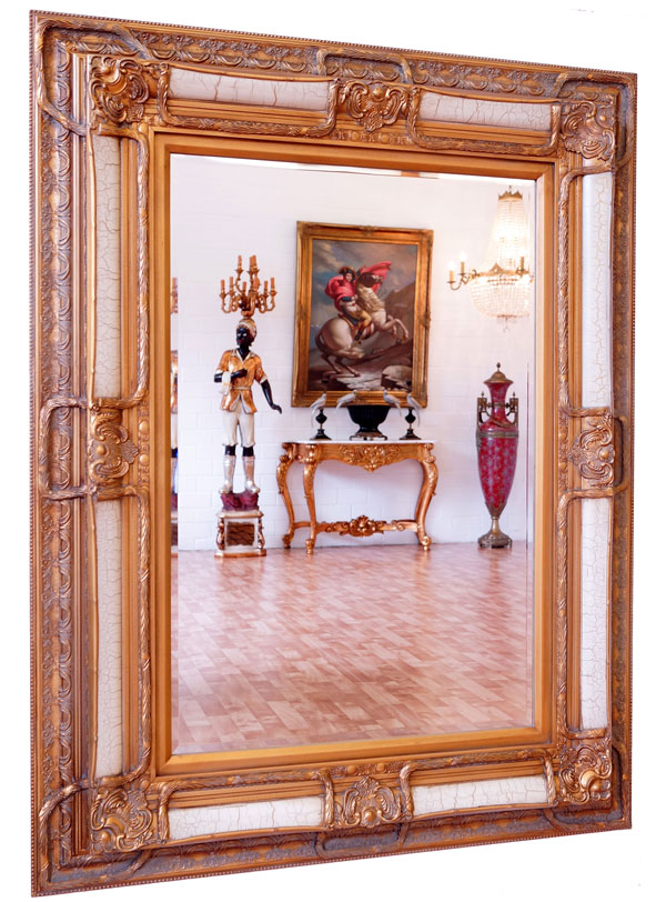 Baroque Mirror Antique Gold White Wooden Frame French