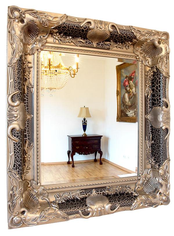 Miroir baroque louis xv xvi cadre en bois noir argente for Miroir baroque noir