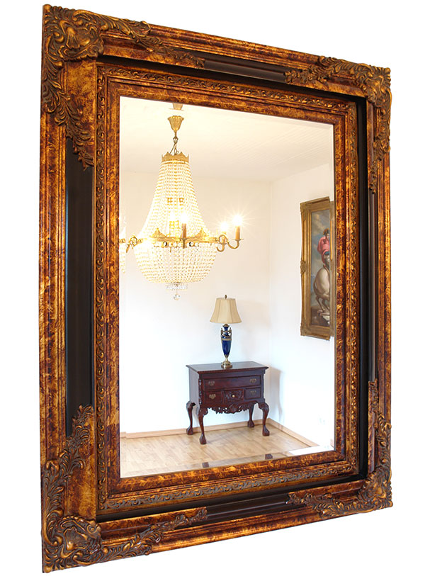 Baroque Mirror Antique Gold Black Wooden Frame French