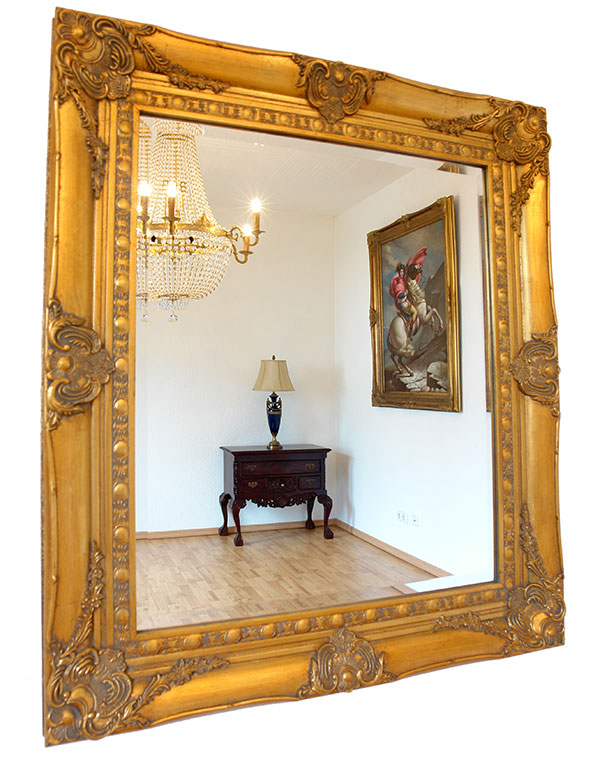 Baroque mirror french louis xv style ornate gold gilt wooden frame mantel wall - Miroir baroque rectangulaire ...