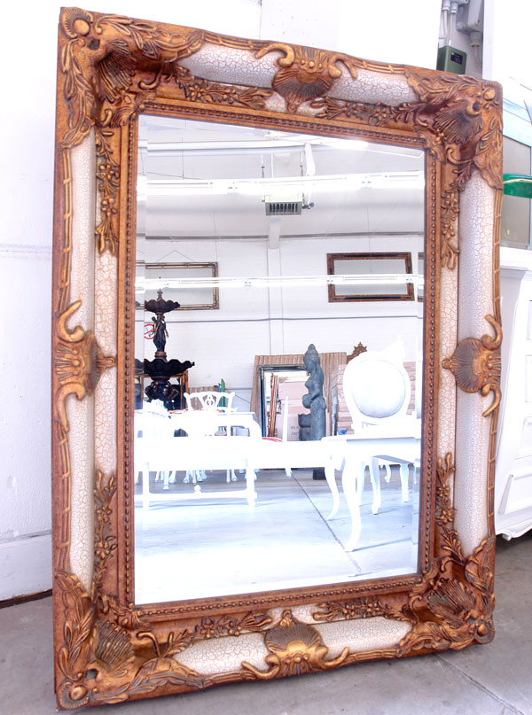 Baroque mirror french louis xv style rococo antique white gold wooden frame g - Miroir baroque rectangulaire ...