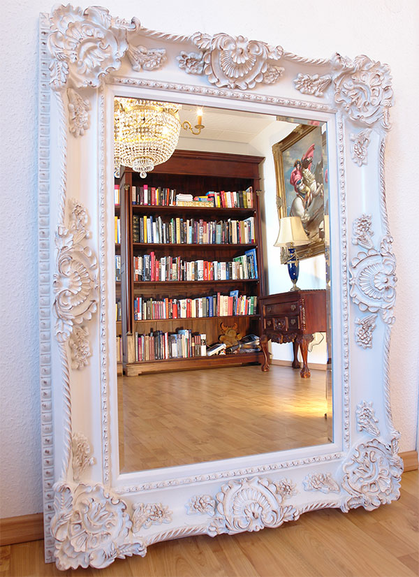 Baroque mirror antique gold wooden frame french louis xv naoleon empire style - Miroir baroque rectangulaire ...