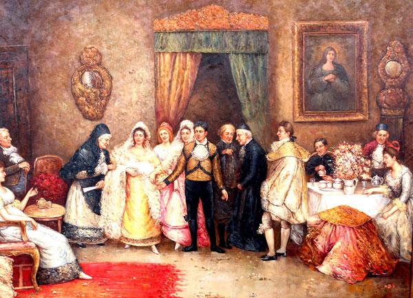 Tableau 146x116cm soiree mondaine peinture a lhuile sur toile cadre bois dore ebay for Peinture sur bois