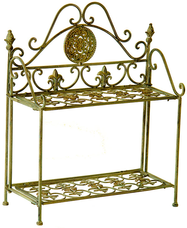 Etagere en fer forge vert antique style anglais meuble de for Meuble anglais paris