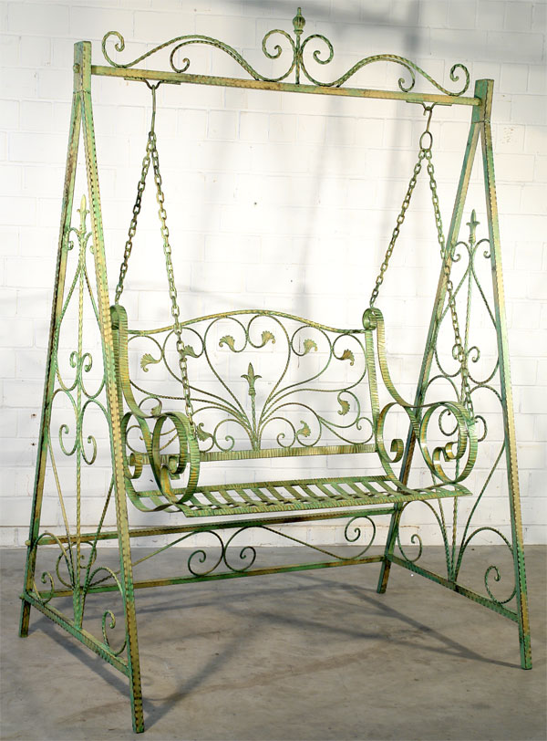 balancelle en fer forge vert banc a bascule meuble de jardin balancoire ebay. Black Bedroom Furniture Sets. Home Design Ideas