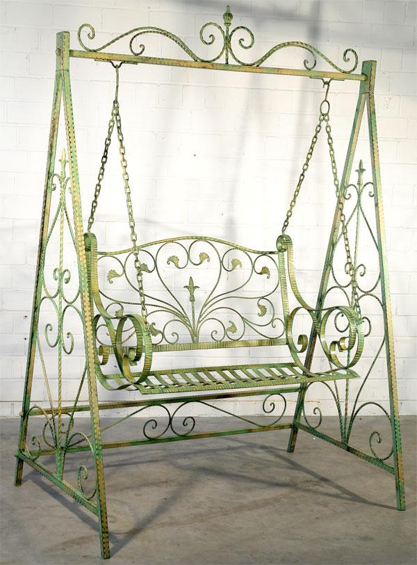 Balancelle en fer forge vert banc a bascule meuble de jardin balancoire ebay - Portique balancoire en fer ...