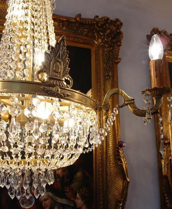 lustre montgolfiere pampilles en cristal luminaire lampe style empire napoleon ebay. Black Bedroom Furniture Sets. Home Design Ideas